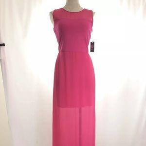 Vince Camuto Fuchsia Chiffon Overlay Evening Dress